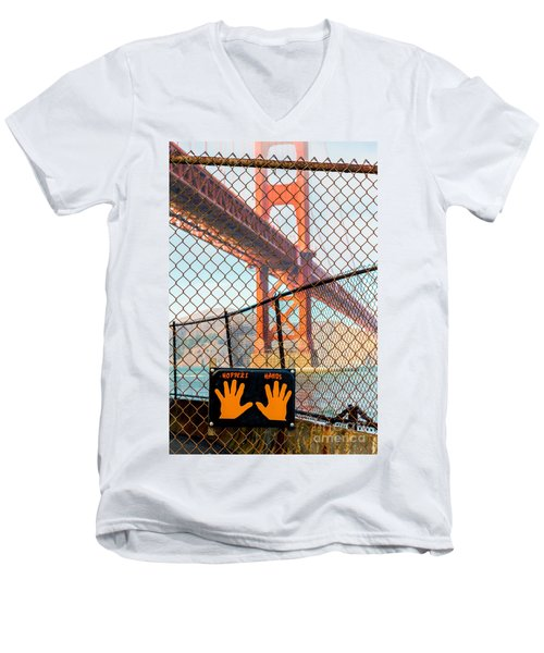 Hoppers Hands Men's V-Neck T-Shirt by Jerry Fornarotto