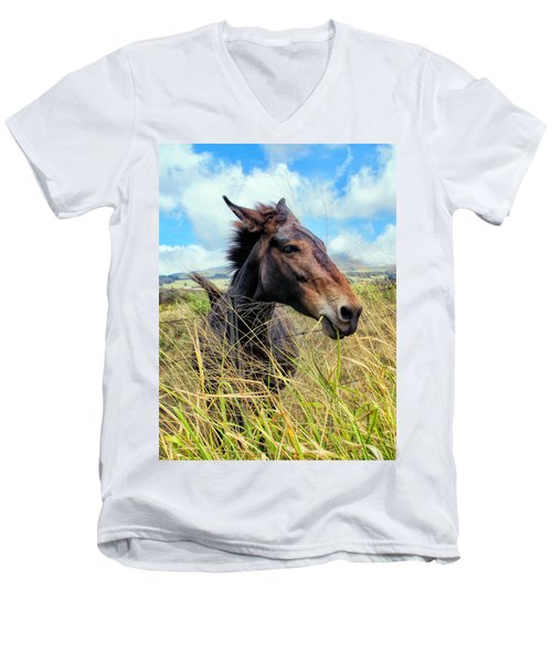 Men's V-Neck T-Shirt featuring the photograph Horse 6 by Dawn Eshelman