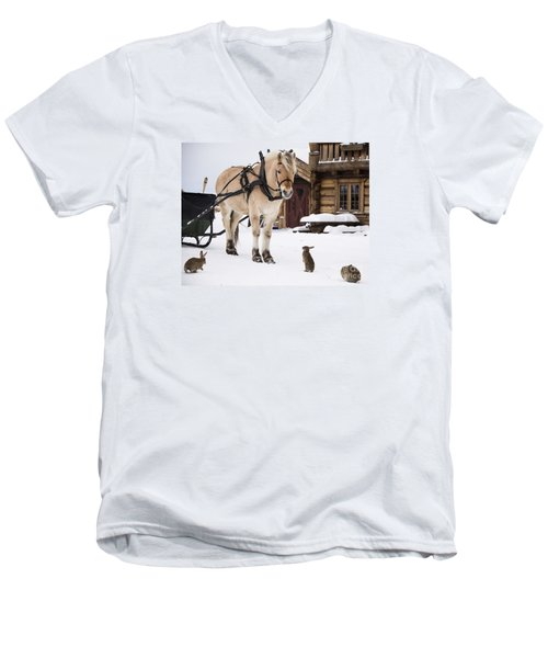Horse And Rabbits Men's V-Neck T-Shirt