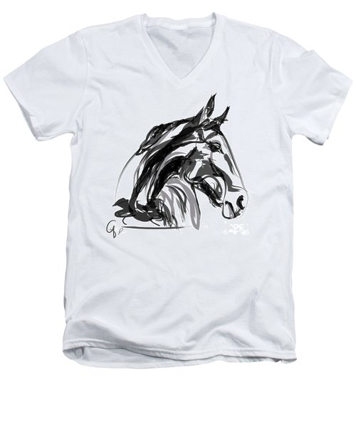 Horse- Apple -digi - Black And White Men's V-Neck T-Shirt by Go Van Kampen