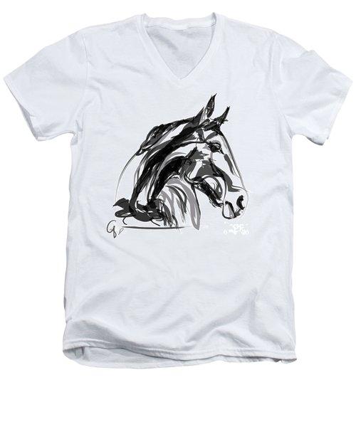 Horse- Apple -digi - Black And White Men's V-Neck T-Shirt