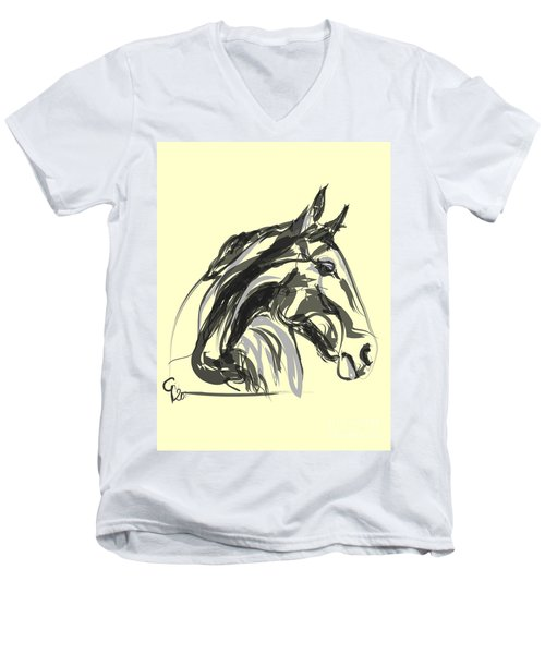 Men's V-Neck T-Shirt featuring the painting horse - Apple digital by Go Van Kampen