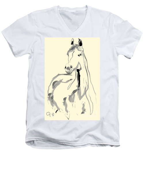 Men's V-Neck T-Shirt featuring the painting Horse - Arab by Go Van Kampen