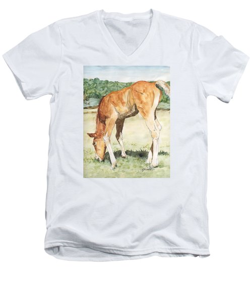 Horse Art Long-legged Colt Painting Equine Watercolor Ink Foal Rural Field Artist K. Joann Russell  Men's V-Neck T-Shirt