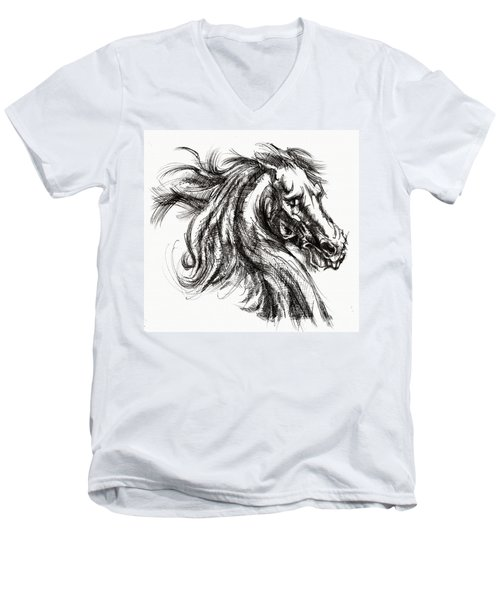 Horse Face Ink Sketch Drawing - Inventing A Horse Men's V-Neck T-Shirt
