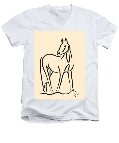 Men's V-Neck T-Shirt featuring the painting Horse - Grace by Go Van Kampen