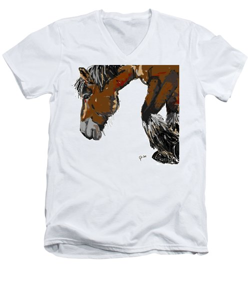 Men's V-Neck T-Shirt featuring the painting horse - Guus by Go Van Kampen