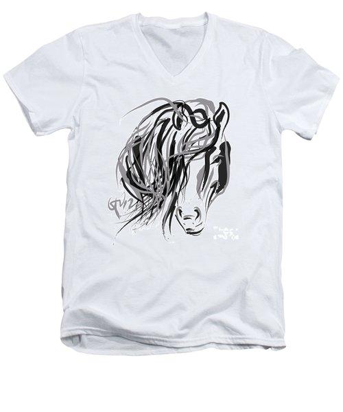 Horse- Hair And Horse Men's V-Neck T-Shirt by Go Van Kampen