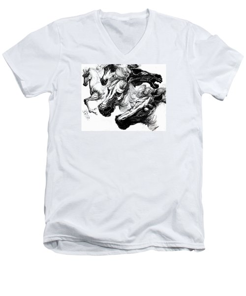 Horse Ink Drawing  Men's V-Neck T-Shirt