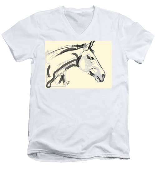 Men's V-Neck T-Shirt featuring the painting Horse - Lovely by Go Van Kampen