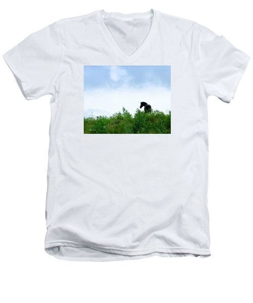 Men's V-Neck T-Shirt featuring the photograph Horse On The Hill by Joan Davis
