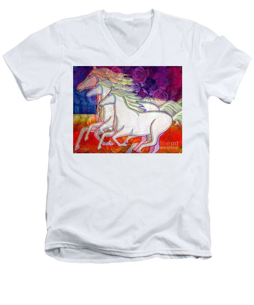 Horse Spirits Running Men's V-Neck T-Shirt