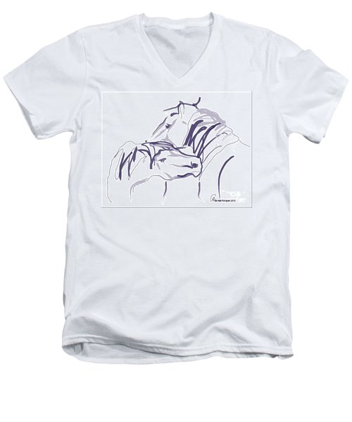 Men's V-Neck T-Shirt featuring the painting Horse - Together 10 by Go Van Kampen