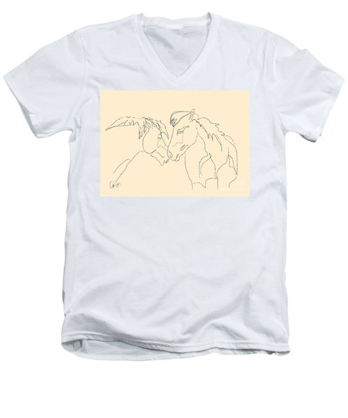 Men's V-Neck T-Shirt featuring the painting Horse - Together 3 by Go Van Kampen