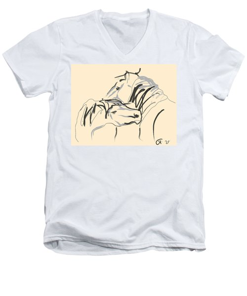 Men's V-Neck T-Shirt featuring the painting Horse - Together 4 by Go Van Kampen