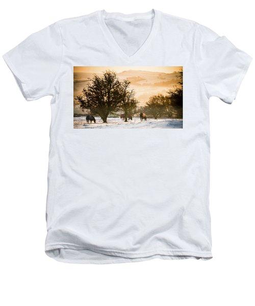 Horses In The Snow Men's V-Neck T-Shirt