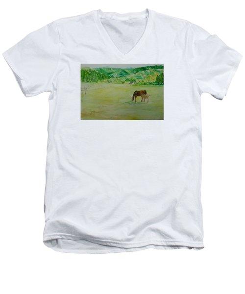 Horses Mare Foal Pastures Rural Landscape Original Art Oregon Western Artist K. Joann Russell Men's V-Neck T-Shirt