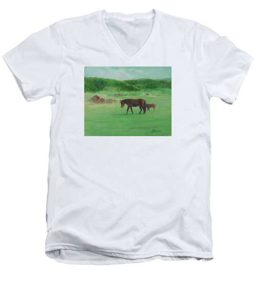 Horses Rural Pasture Western Landscape Original Oil Colorful Art Oregon Artist K. Joann Russell Men's V-Neck T-Shirt by Elizabeth Sawyer