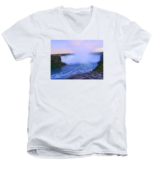 Horseshoe Falls Sunset In The Summer Men's V-Neck T-Shirt by Lingfai Leung