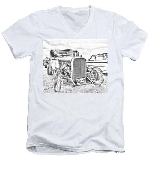 Hot Rod Faux Sketch Men's V-Neck T-Shirt