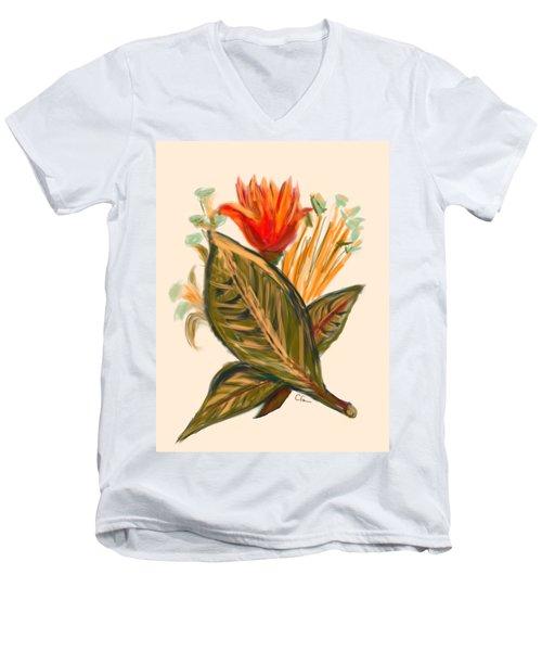 Men's V-Neck T-Shirt featuring the digital art Hot Tulip Spring by Christine Fournier