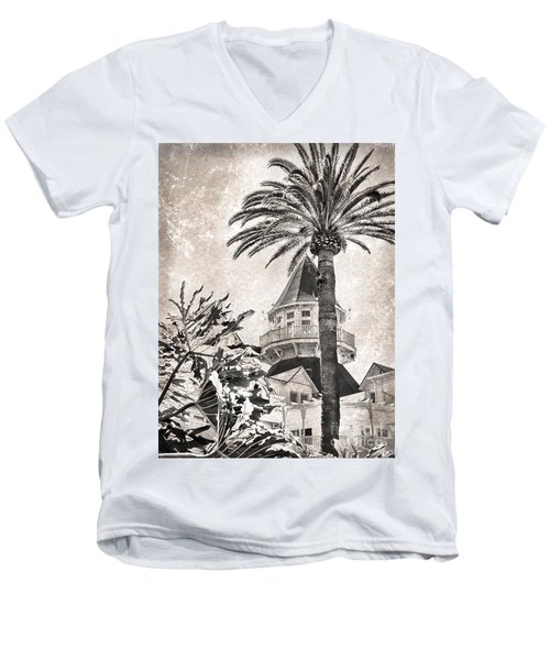 Hotel Del Coronado Men's V-Neck T-Shirt by Peggy Hughes