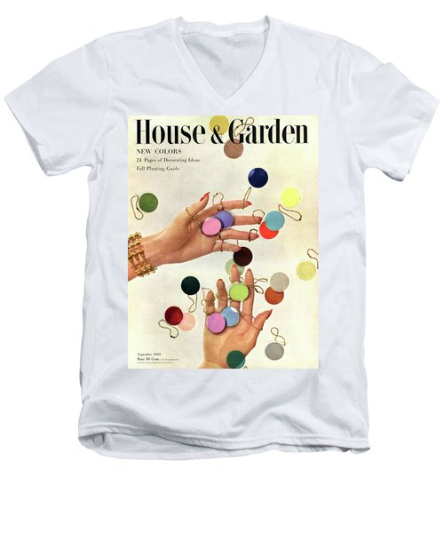 House & Garden Cover Of Woman's Hands With An Men's V-Neck T-Shirt