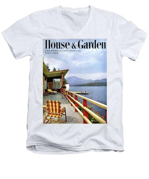 House & Garden Cover Of Women Sitting On The Deck Men's V-Neck T-Shirt