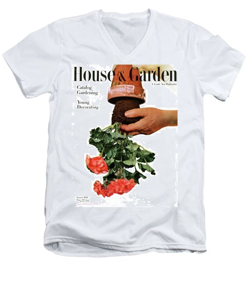 House And Garden Cover Featuring A Person Men's V-Neck T-Shirt