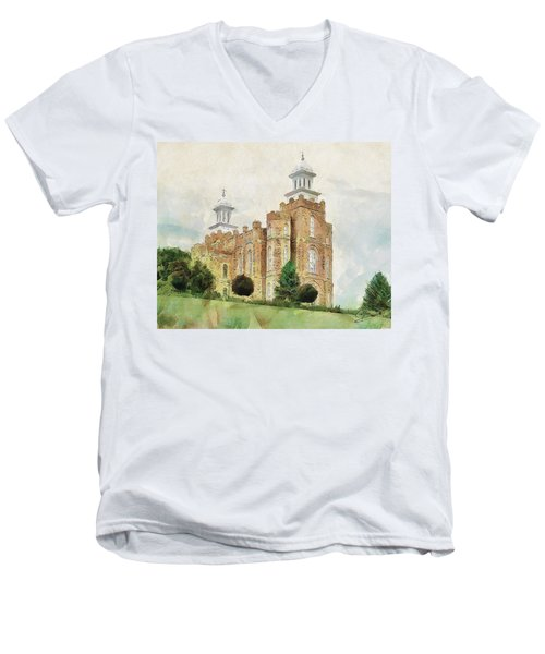 Men's V-Neck T-Shirt featuring the painting House Of Defense by Greg Collins