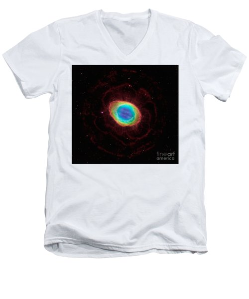 Men's V-Neck T-Shirt featuring the  Hubble Reveals The Ring Nebulas True Shape by Paul Fearn