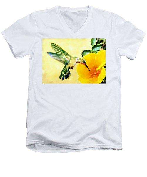 Hummingbird And California Poppy Men's V-Neck T-Shirt by Bob and Nadine Johnston