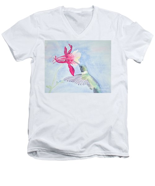 Hummingbird And Columbine Men's V-Neck T-Shirt