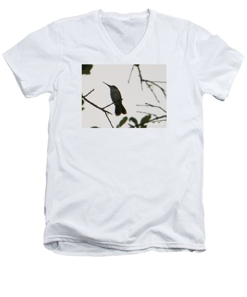 Men's V-Neck T-Shirt featuring the photograph Hummingbird Silhouette 2 by Joy Hardee