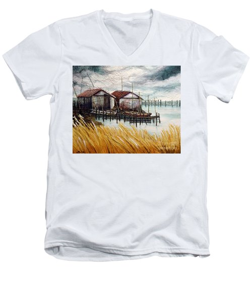 Huts By The Shore Men's V-Neck T-Shirt by Joey Agbayani