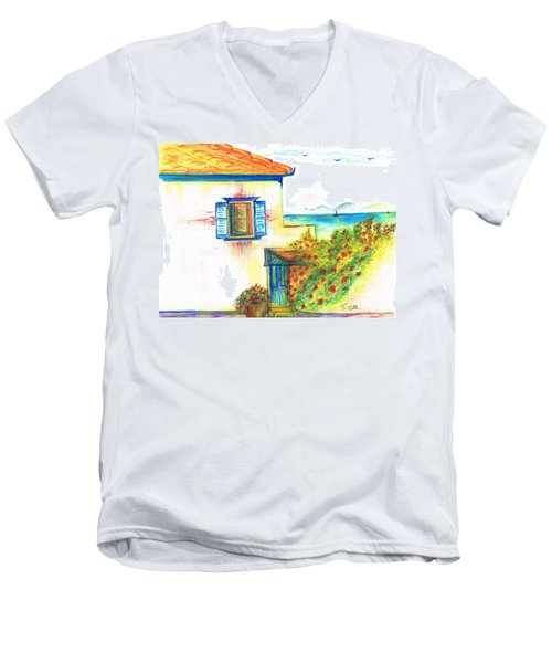 Men's V-Neck T-Shirt featuring the painting Greek Island Hydra- Home by Teresa White