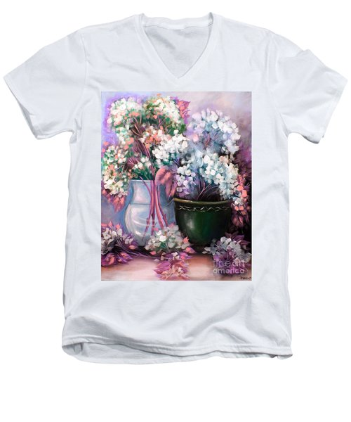 Men's V-Neck T-Shirt featuring the painting Hydrangeas Still Life Pink by Patrice Torrillo