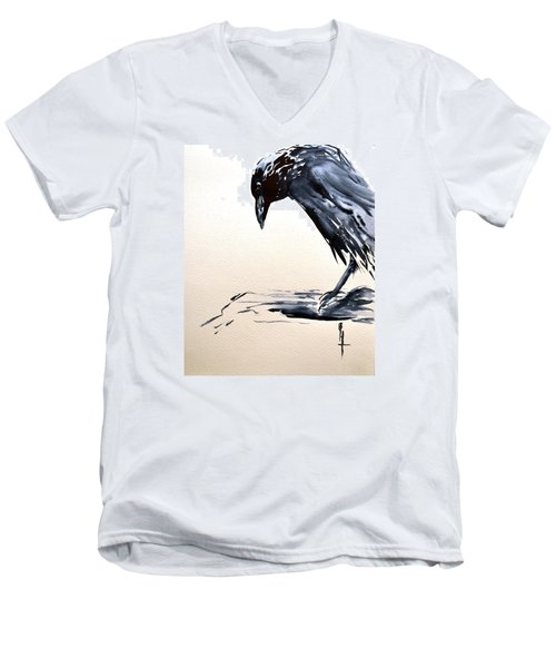 I Am A Crow Men's V-Neck T-Shirt by Beverley Harper Tinsley