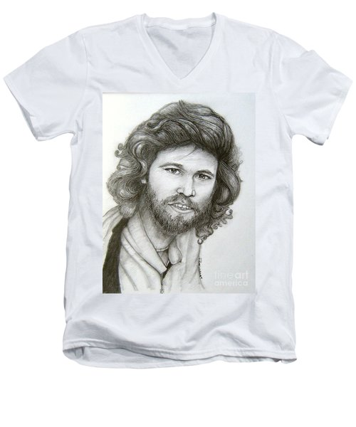 Men's V-Neck T-Shirt featuring the drawing Barry Gibb by Patrice Torrillo