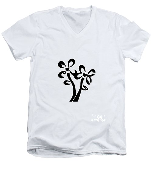 Men's V-Neck T-Shirt featuring the drawing I Love You Flowers by Tamir Barkan