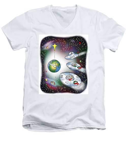 We Three Spacemen Men's V-Neck T-Shirt
