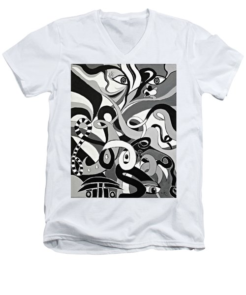 Black And White Acrylic Painting Original Abstract Artwork Eye Art  Men's V-Neck T-Shirt