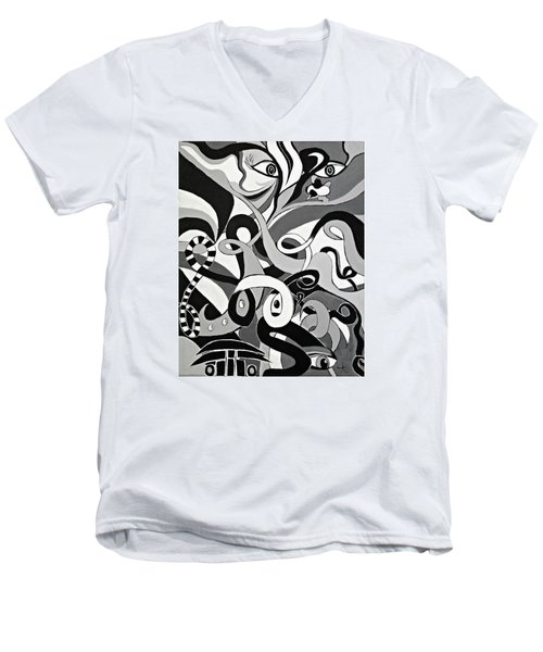 I Seek U - Abstract Eye Paintings, Black And White Eye Art - Ai P. Nilson Men's V-Neck T-Shirt