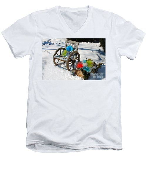 Men's V-Neck T-Shirt featuring the photograph Ice Ball Art by Nina Silver