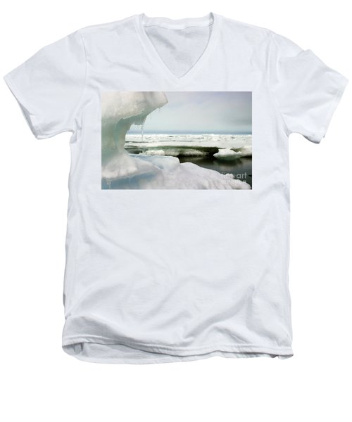 Men's V-Neck T-Shirt featuring the photograph Ice Barrow Alaska July 1969 By Mr. Pat Hathaway by California Views Mr Pat Hathaway Archives