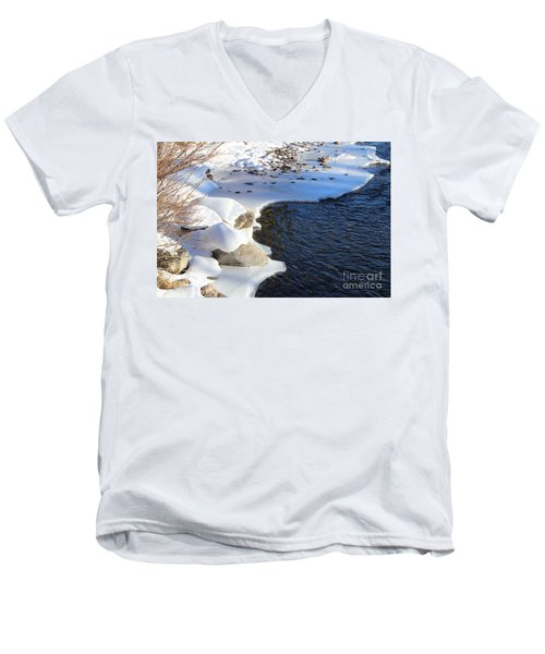 Men's V-Neck T-Shirt featuring the photograph Ice Cold Water by Fiona Kennard