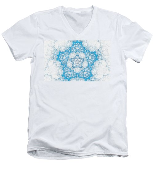 Men's V-Neck T-Shirt featuring the digital art Ice Crystals by GJ Blackman