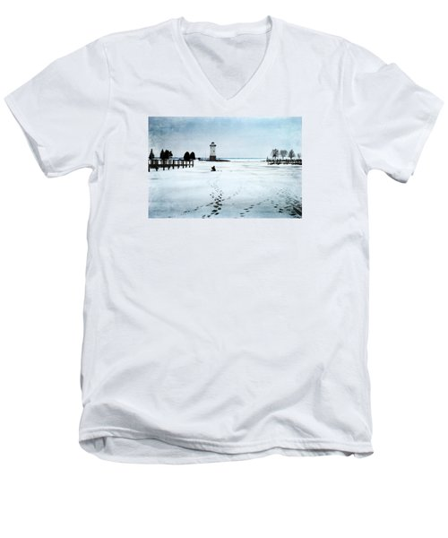 Ice Fishing Solitude 2 Men's V-Neck T-Shirt by Janice Adomeit