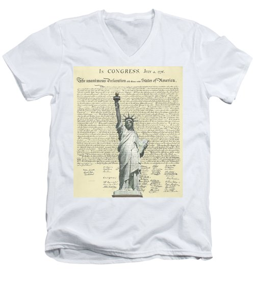 Icon Of Freedom Men's V-Neck T-Shirt by Charles Beeler