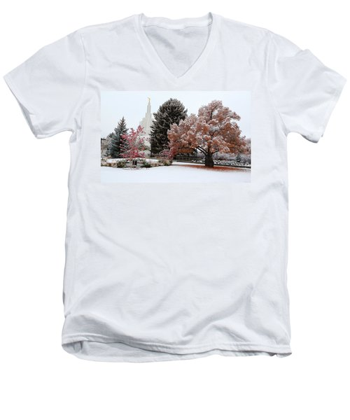 Idaho Falls Temple Winter Men's V-Neck T-Shirt by David Andersen
